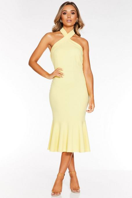Lemon Halterneck Frill Hem Dress