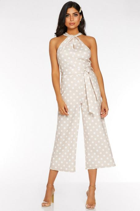 Stone and Cream Polka Dot Halterneck Jumpsuit