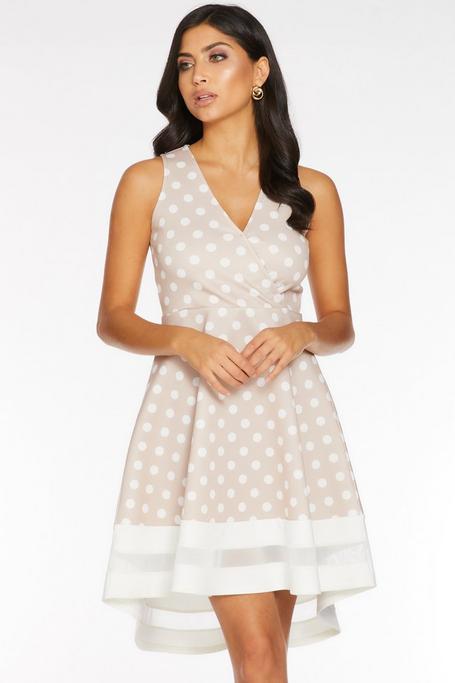 Stone and Cream Polka Dot Mesh Dip Hem Dress