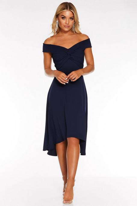 Navy Off The Shoulder Knot Front Dip Hem Dress