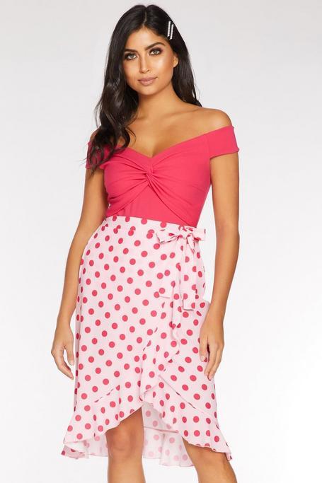 Petite Pink Polka Dot Wrap Frill Skirt