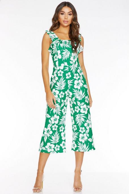 Mono Culotte Tropical Verde y Blanco con Volantes