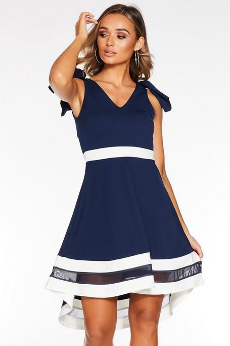 Navy And Cream V Neck Skater Dress