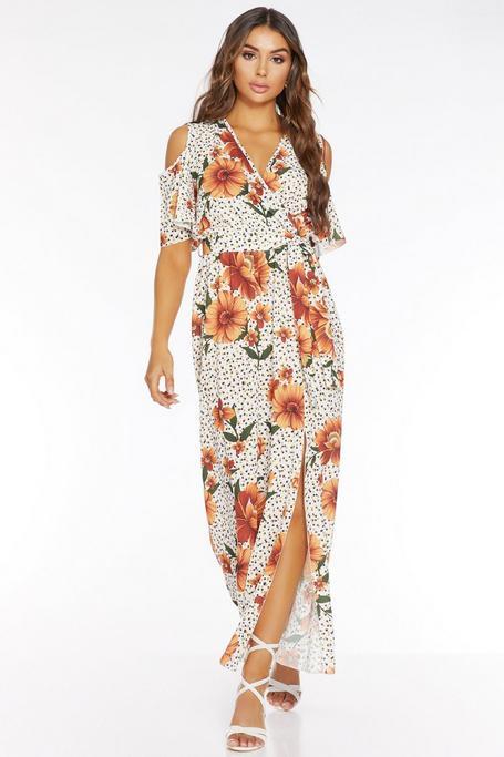 Vestido Largo Blanco con Estampado Floral y de Lunares