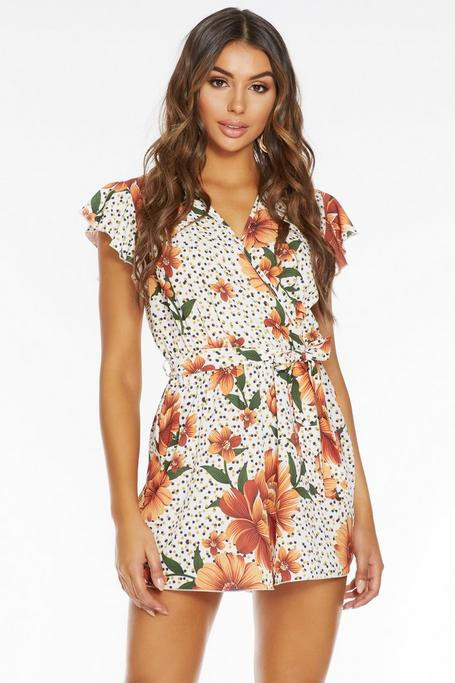 White And Rust Floral Wrap Frill Romper