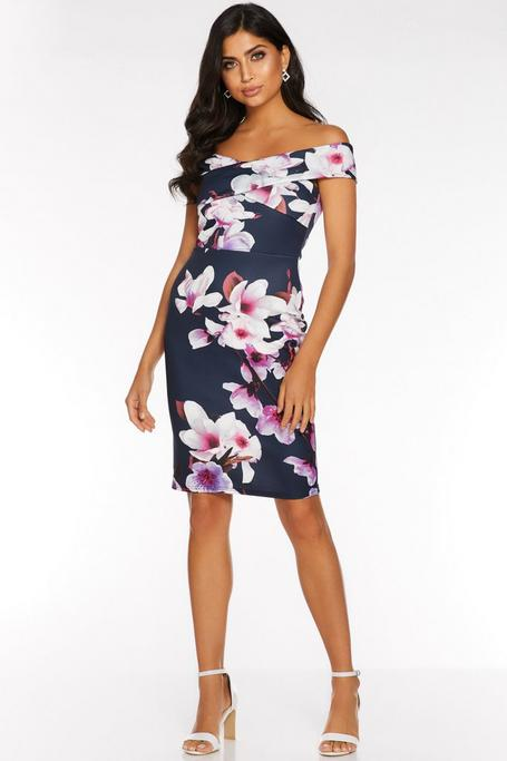 Navy And Pink Floral Print Off The Shoulder Midi Dress