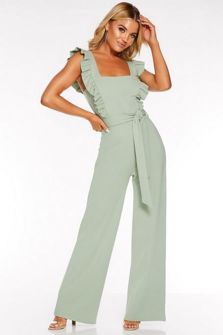 Sage Frill Sleeve Palazzo Jumpsuit