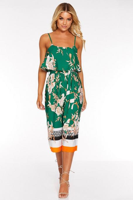 Green White and Orange Floral Culotte Jumpsuit