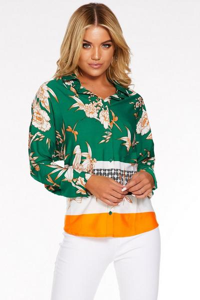 Green White and Orange Floral Button Front Shirt