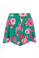 Turquoise And Pink Floral High Waist Shorts