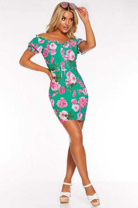 Green and Pink Floral Bardot Puff Sleeve Dress