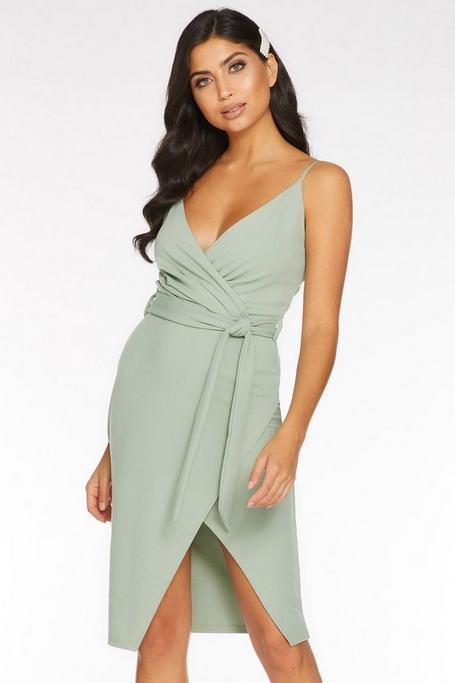 Sage Green Wrap Front Midi Dress