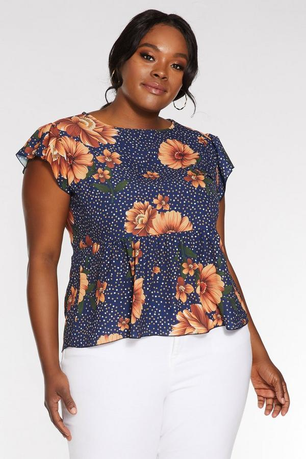 Plus Size Navy Floral Print Peplum Top