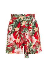 Red And Green Tropical Paper Bag Shorts
