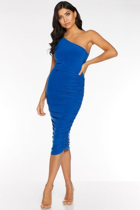 Royal Blue One Shoulder Ruched Midi Dress