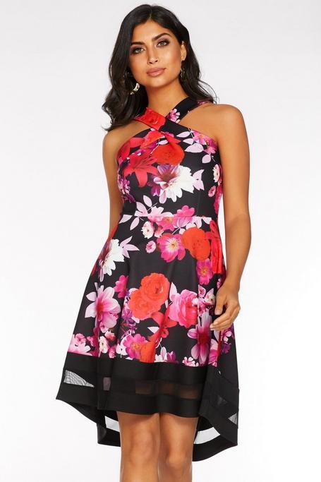 Black Red and Pink Floral Dip Hem Dress