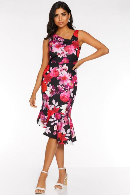 Black Red and Pink Floral Asymmetric Midi Dress