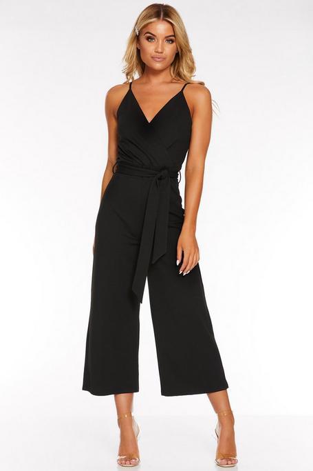 Black Wrap Front Tie Belt Culotte Jumpsuit
