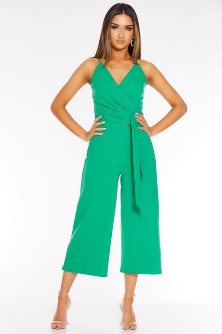 Green Wrap Front Tie Belt Culotte Jumpsuit