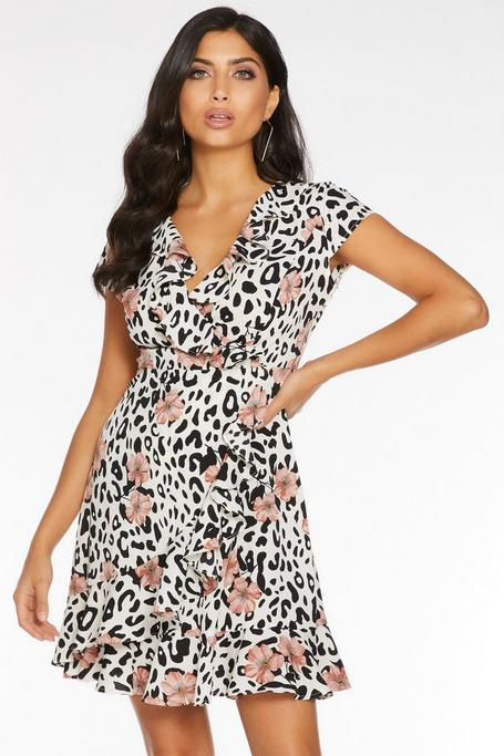 Cream Black And Pink Leopard Print Frill Wrap Dress