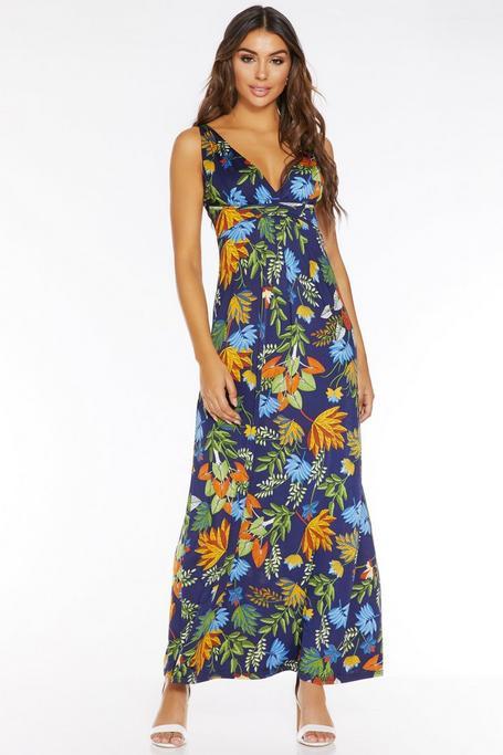 Vestido Largo Floral Azul Marino
