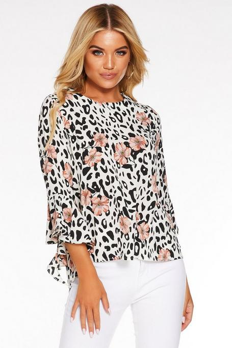 Cream Black and Pink Leopard Frill Top