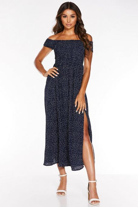 Navy And Cream Off The Shoulder Split Leg Maxi Dress
