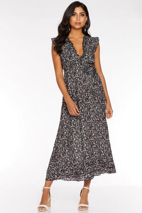 Black Ditsy Print Frill V Neck Maxi Dress