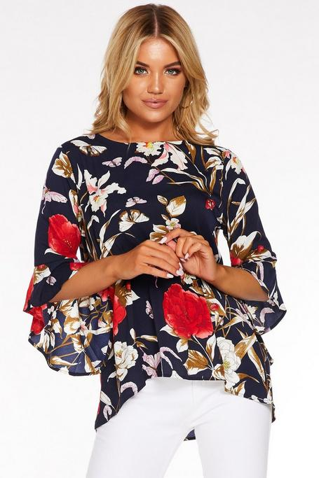 Navy And Red Floral Frill Sleeve Top