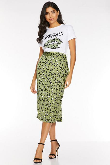 Green And Cream Leopard Wrap Midi Skirt