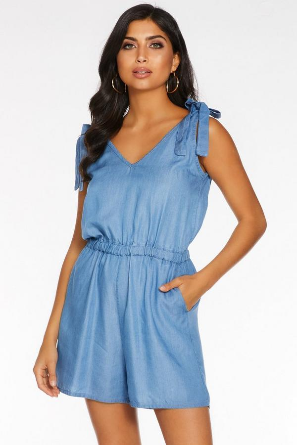 Mid Blue Chambray Tie Shoulder Romper