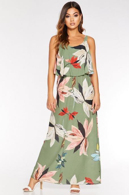 Vestido Largo Caqui Floral