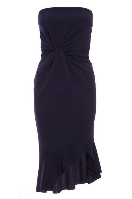 Petite Navy Knot Front Midi Dress