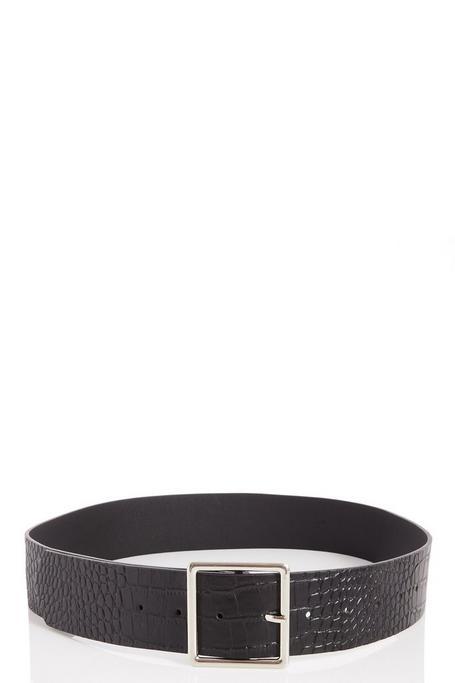 Cinturón Negro de Efecto Cocodrilo con Hebilla Rectangular