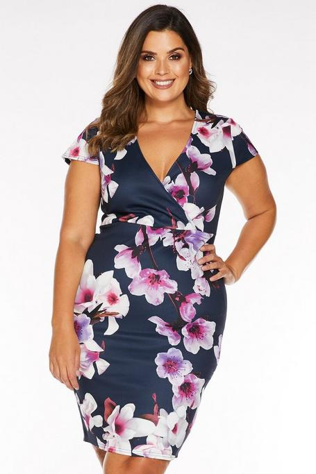 Plus Size Navy Pink and Purple Floral Midi Dress