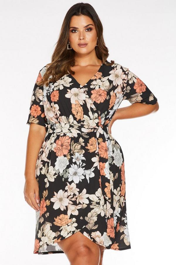 Vestido Curve Floral Negro, Blanco y Naranja