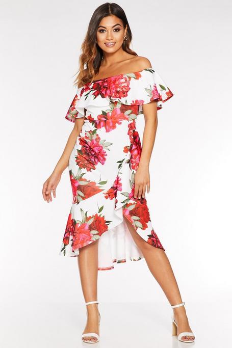 Cream And Red Floral Bardot Midi Dress