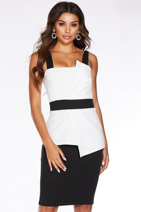 Black And Cream Peplum Strappy Midi Dress