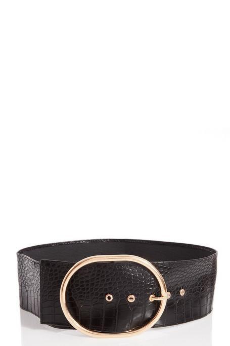 Cinturón Negro con Efecto Cocodrilo