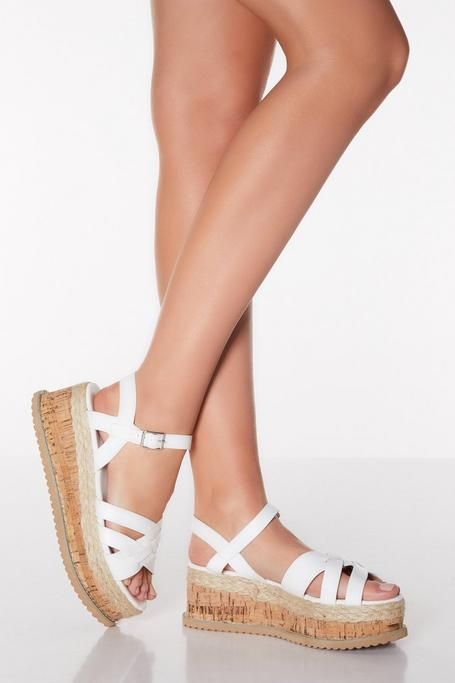 White Faux Leather Strappy Flatforms