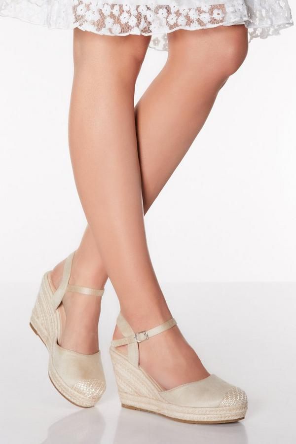 Nude Closed Toe Espadrille Wedges