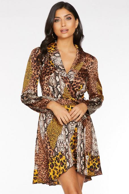 Brown And Mustard Animal Wrap Dress