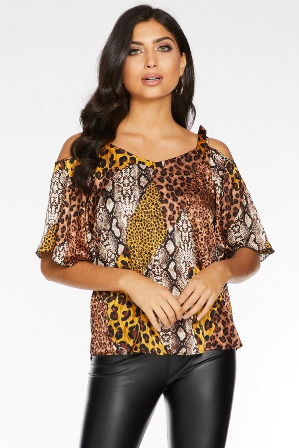 Brown And Mustard Animal Print Cold Shoulder Top