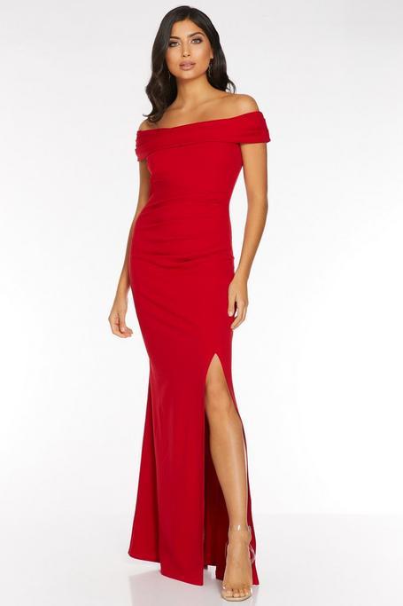 Red Bardot Ruched Split Maxi Dress