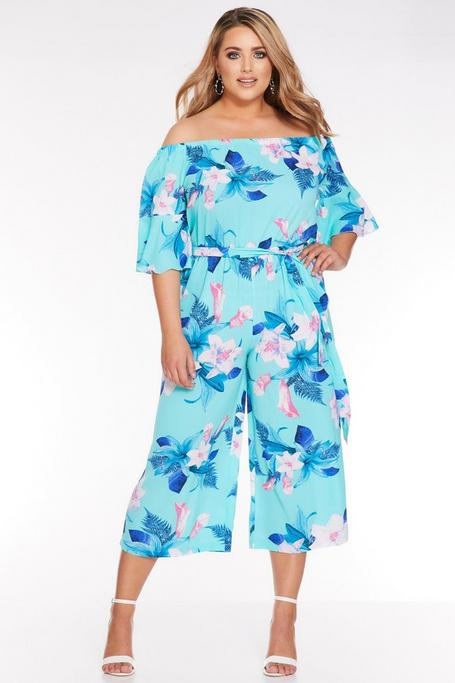 Mono Curve Culotte Floral Turquesa con Hombros Descubiertos