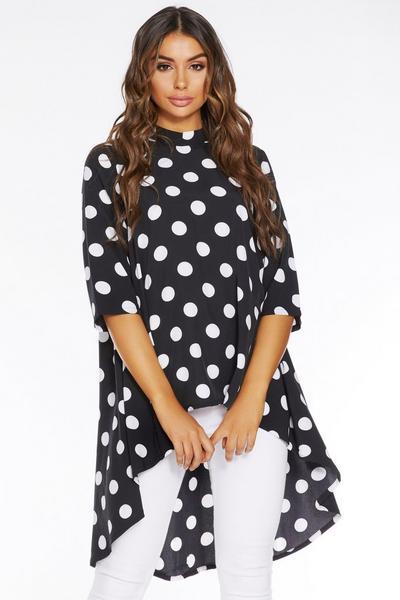Black and White Polka Dot Dip Hem Top