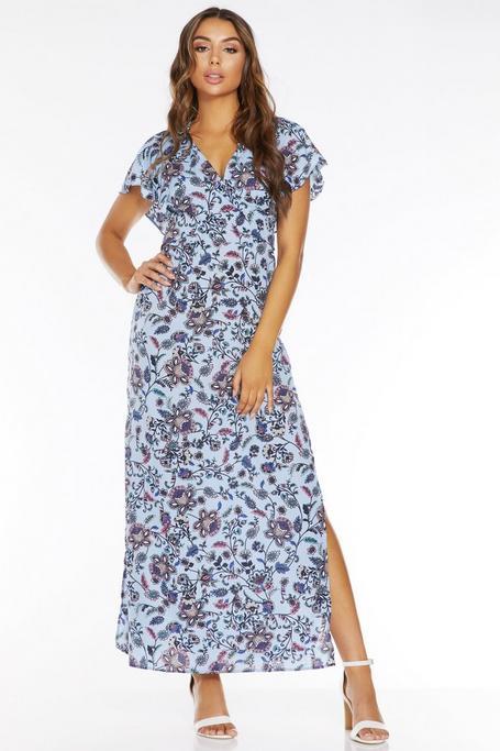 Vestido Largo Floral Azul Claro con Abertura Lateral