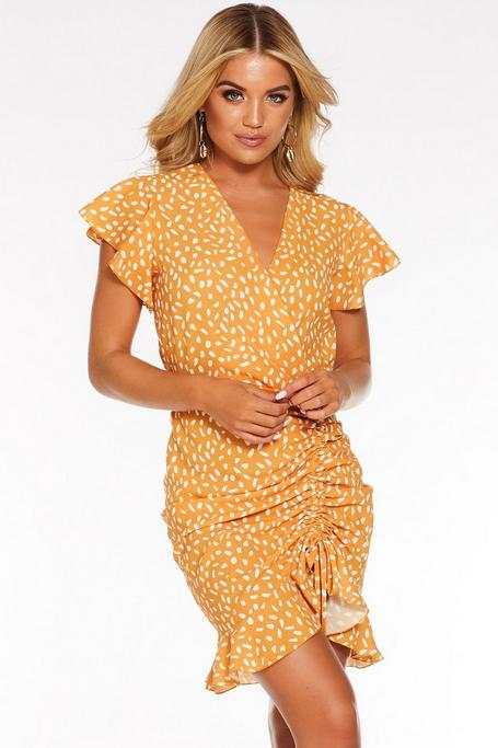 Mustard Spot Print Ruched Frill Dress