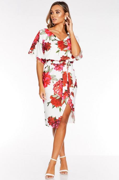 Vestido Floral Blanco y Rojo de Manga Corta