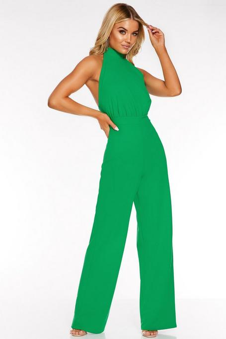 Green Halter Neck Backless Palazzo Jumpsuit